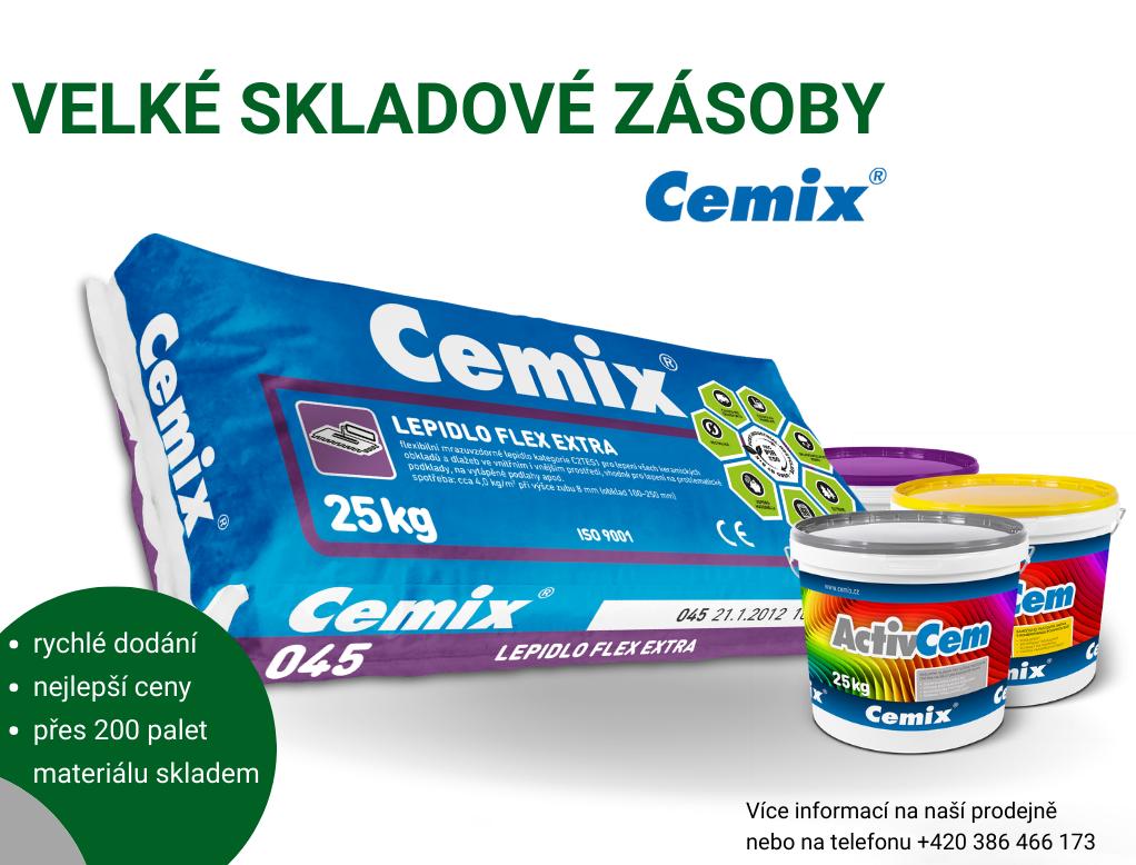 Velké skladové zásoby Cemix